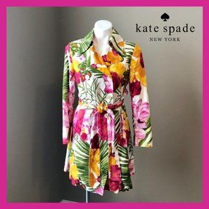 Kate Spade floral tropical trench coat